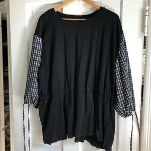 Eloquii Black Shirt w/Blk White Gingham Sleeves